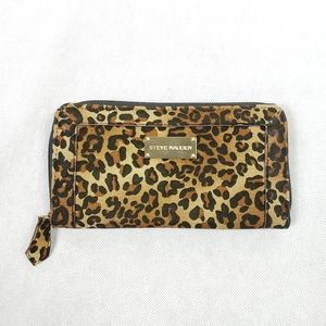 STEVE MADDEN Cheetah Zip Gold Soft Card Wallet